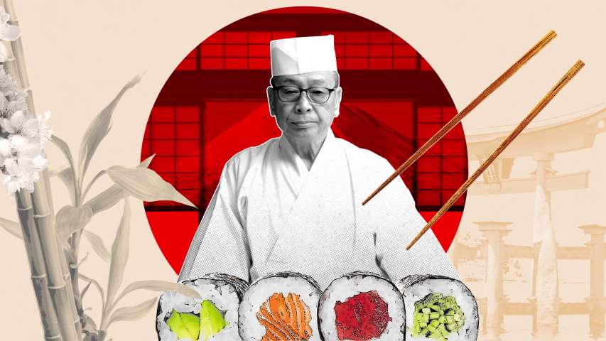Japanese travel blog stories 4K stop motion animation in graphic design collage style. Sushi chef with chopsticks and bamboo.    Shutterstock HD Video #1039181948