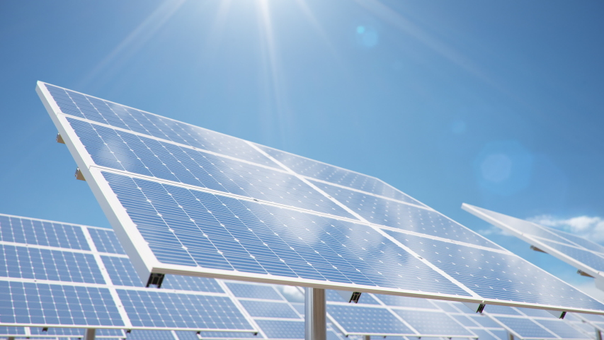 Solar panels on the background of the desert, blue sky. The concept of clean energy, green energy, renewable energy. Alternative energy concept. Photovoltaic panel. Loop seamless 4K, 3D animation | Shutterstock HD Video #1039200542