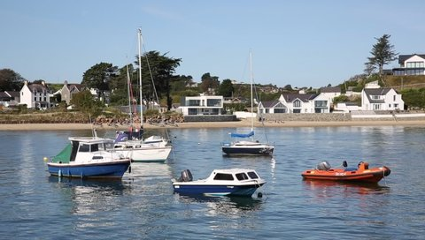 ABERSOCH, WALES, UK-SEPTEMBER 19TH 2019: Beautiful weather attracted visitors to the coast in popular coast town of Abersoch, Llyn Peninsula, Wales on Thursday 19th September 2019