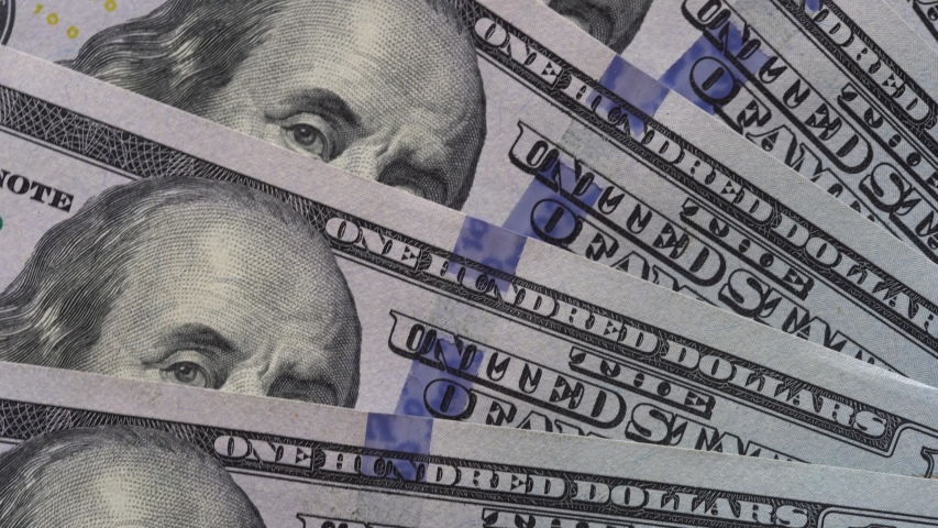 Rotation paper money close up. Background with money american hundred dollar bills rotate | Shutterstock HD Video #1039202585