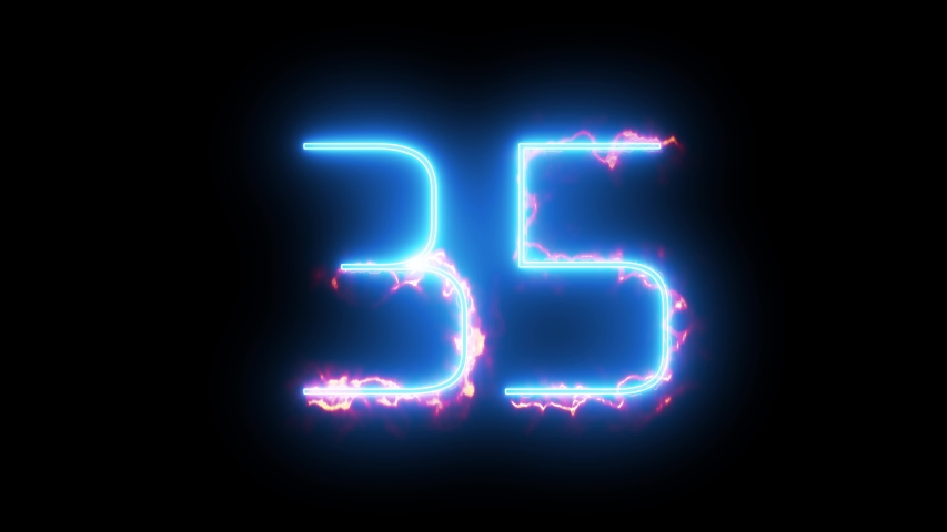 Blue lights form luminous numeral 35 on black background. Appears and disappears. Fiery style.  4k.  Seamless loop. | Shutterstock HD Video #1039204685