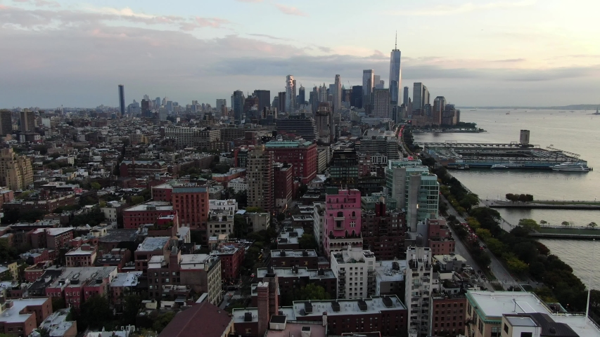 New York, New York / USA - October 15, 2019 : Aerial of Downtown New York City | Shutterstock HD Video #1039210049