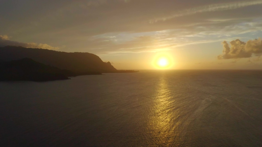 Aerial View: Hanalei Bay Mountains at Sunset, Kauai, Hawaii | Shutterstock HD Video #1039212068