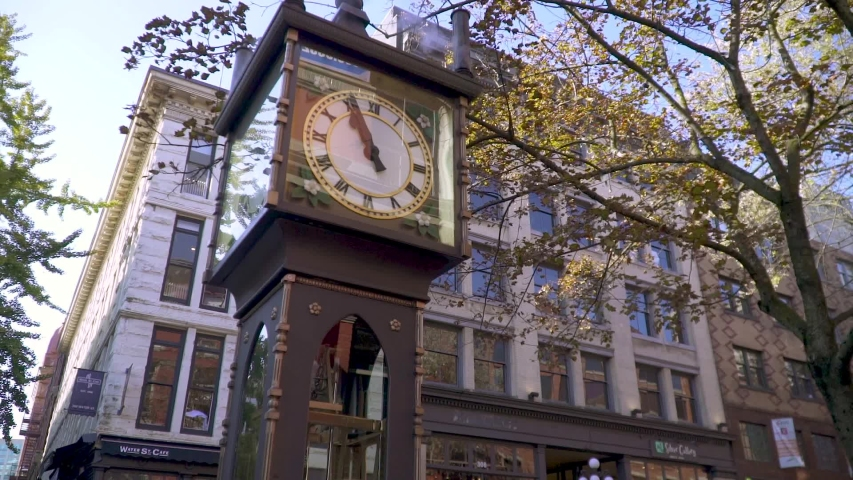 Vancouver Steam Clock Downtown British Columbia Canada | Shutterstock HD Video #1039217111