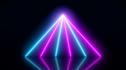 Video animation of glowing vertical neon lines in blue and magenta on reflecting floor. - Abstract background - laser show