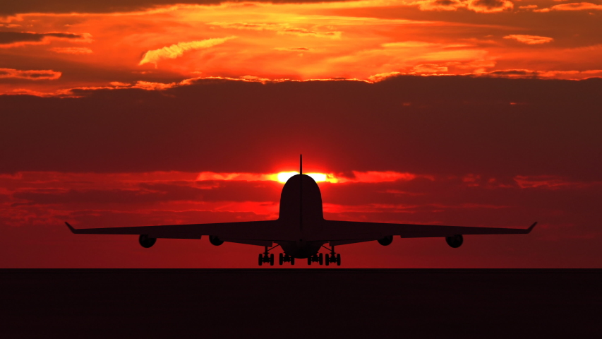 Large passenger airplane taking off and flying towards scenic orange sunset. Suitable as an iillustration for tourism, holidays, vacation, success, business and transportation concept video | Shutterstock HD Video #1039228478