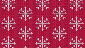 Knitted snowflake pattern for scandinavian sweater. Xmas snowfall wool knitted background. Looped animation.