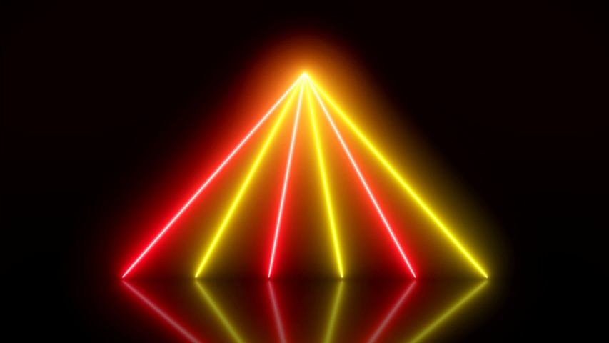 Video animation of glowing vertical neon lines in red and yellow on reflecting floor. - Abstract background - laser show | Shutterstock HD Video #1039233776