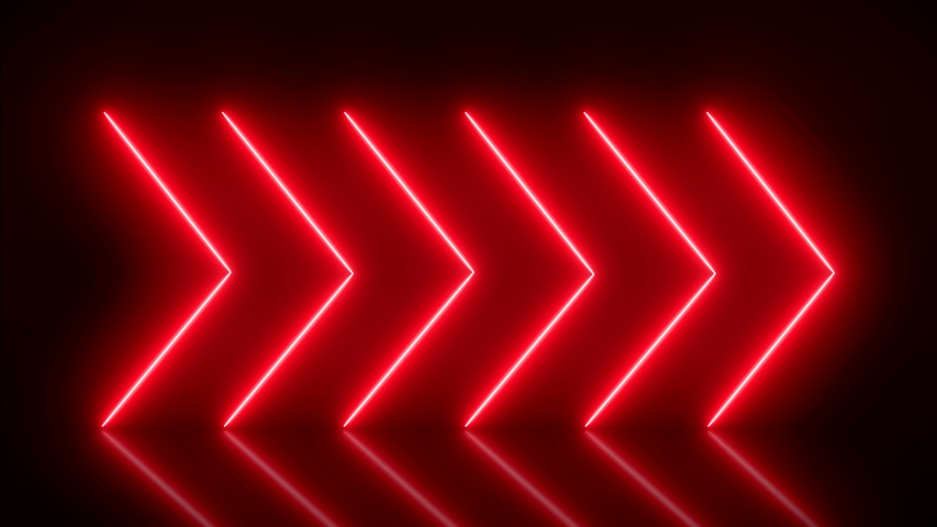 Video animation of glowing neon arrows in red on reflecting floor. - Abstract background - laser show