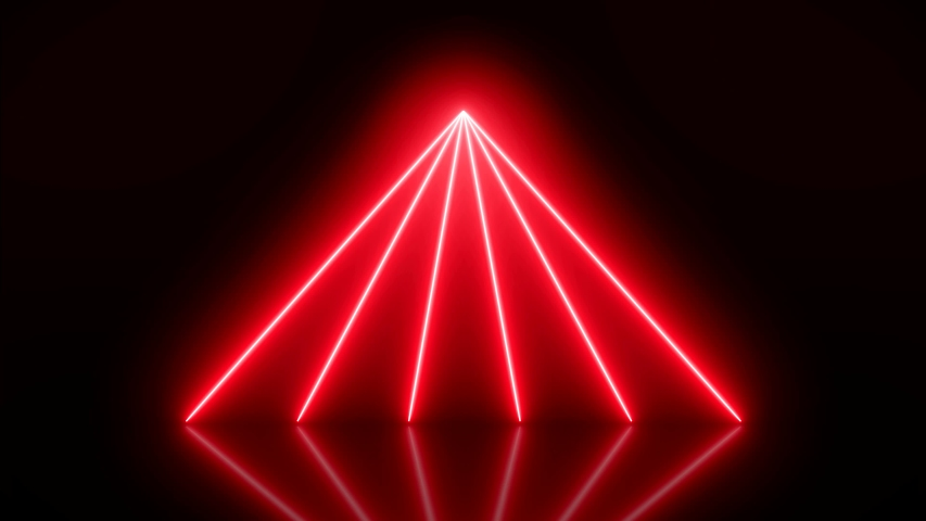 Video animation of glowing vertical neon lines in red on reflecting floor. - Abstract background - laser show | Shutterstock HD Video #1039241471