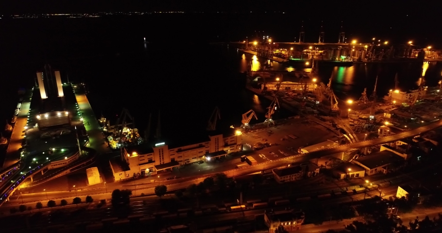 Aerial night view of Odessa Seaport, the largest Ukrainian seaport in Black Sea