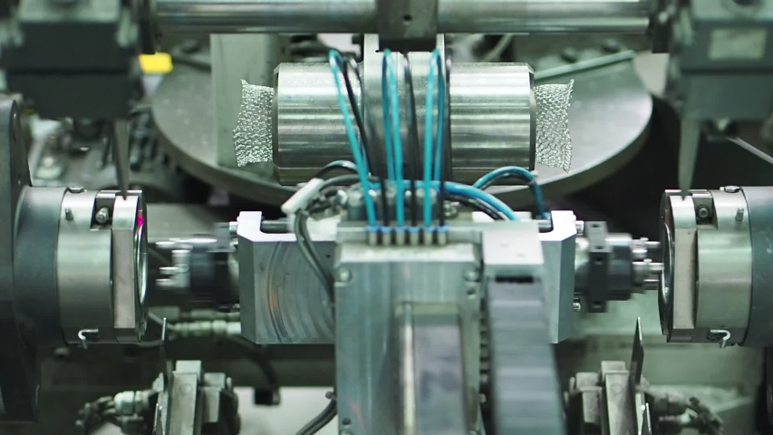 Conveyor machine. Production of silencer corrugation.  Factory of metal products | Shutterstock HD Video #1039251488