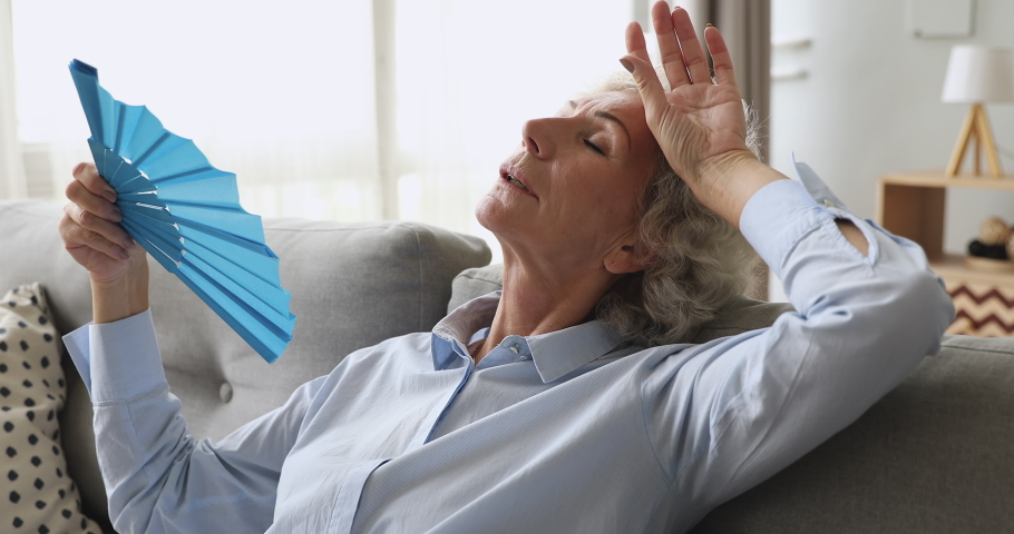 Overheated exhausted old woman feel hot wave fan annoyed with high temperature sit on sofa, tired senior grandma sweating suffer from climax summer heat problem, no air conditioner at home concept