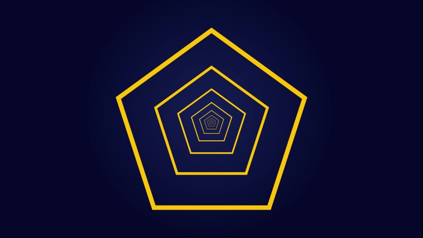 Infinite, loopable pentagon shape tunnel background. Camera flying through a infinite tunel. Bright yellow pentagon shape tunnel. Loopable background. | Shutterstock HD Video #1039344224