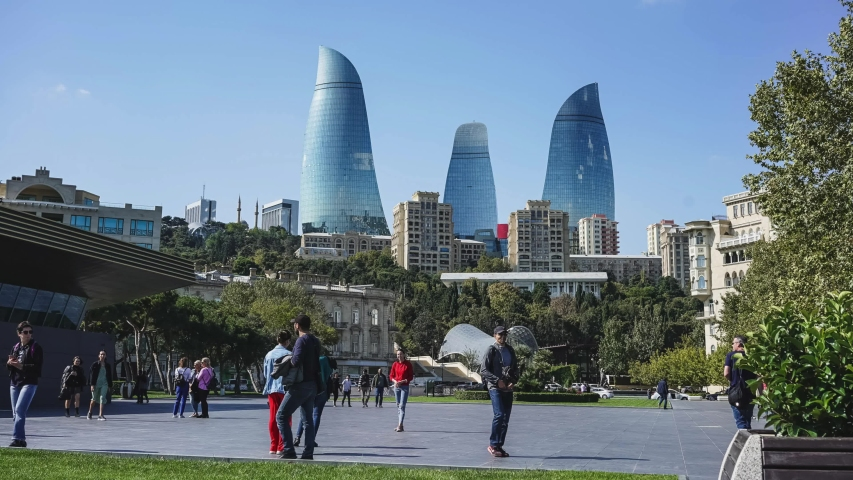 Baku / Azerbaijan - October 16th 2019 - Time Lapse of Crowds and Tourists Taking Pictures in front of the Famous Flame Towers | Shutterstock HD Video #1039349003