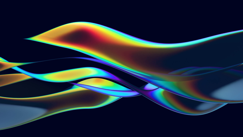 Abstract 3d animation with moving glass waves and with rainbow reflection on the black background. Bright colors, modern trendy design. 4k loop video. | Shutterstock HD Video #1039371170