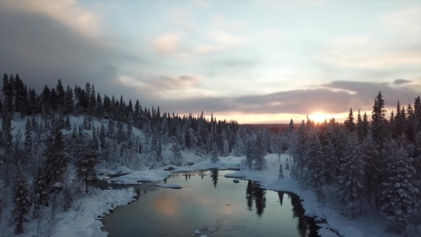 Abisko/Sweden video of the nature of Sweden ,taken by drone camera  Royalty-Free Stock Footage #1039386725