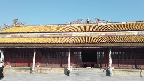 Citadel, an cultural heritage with Hoang Thanh (Imperial City),Tu Cam Thanh (Forbidden City), Dai Noi (Inner city), ngo mon (noon gate), ancient architecture at Hue city Vietnam.
