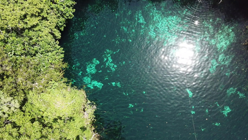 Mexican Cenote, Natural Pool in The Middle of Jungle. Top Down Bird Eye Aerial View. Tulum Mexico
