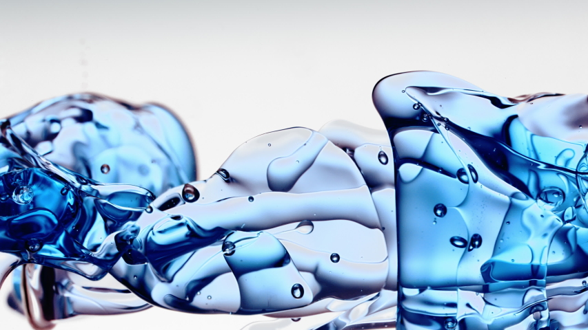 Transparent blue oil bubbles and fluid shapes in purified water on a white gradient background. Side angle with crystal colored bubbles in purified cosmetic backdrop with copy space for science and ad | Shutterstock HD Video #1039438571