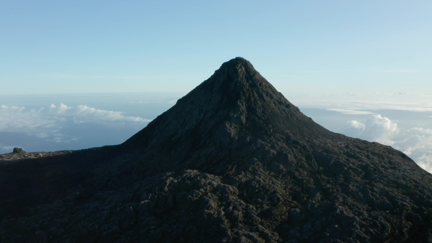 Drone Aerial view of the highest point in Portugal, the top of Pico Mountain in Azores. Great plan of Piquinho.