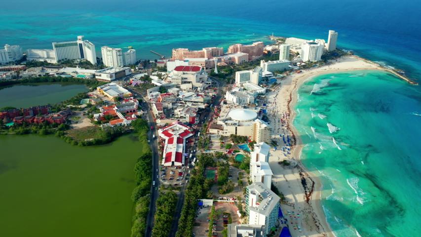 Drone shot over Cancun beach - Mexico | Shutterstock HD Video #1039458311