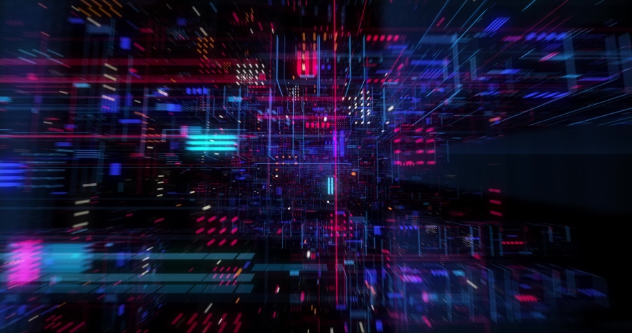 Abstract hologram 3D Big Data Digital City with futuristic matrix. Digital buildings with a binary code particles network. Technological and connection motion background. Seamless loop 3D render #1039461818