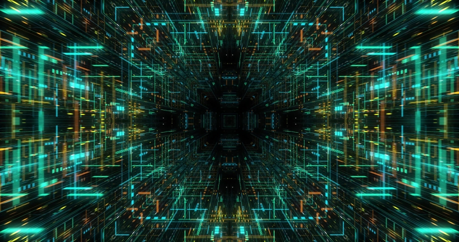 Quantum computer environment with digital technology, processing unit of an advanced Artificial intelligence. Flight through flow of digital information tunnel / cloud computing. loop / 3D render  Royalty-Free Stock Footage #1039462637