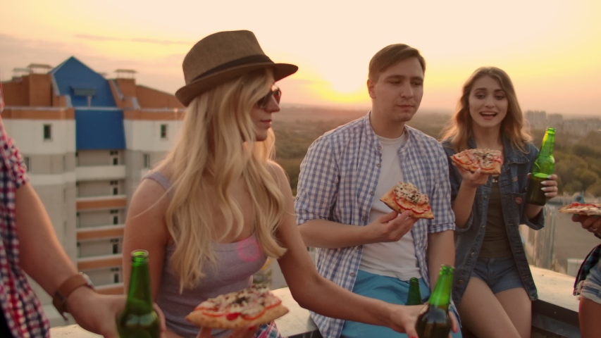 Friends enjoying beer on the party Royalty-Free Stock Footage #1039469402
