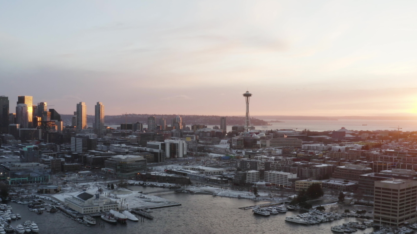 Seattle Washington Winter Aerial View of Sunset in Snowy City View of Skyline and Waterfront Along Lake Union
