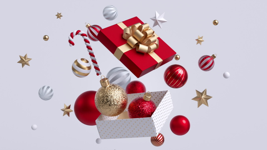 Christmas gift box opening, glass red and golden balls falling out, gold confetti exploding. Xmas decor isolated on white background. New Year animated greeting card. Winter holiday concept.