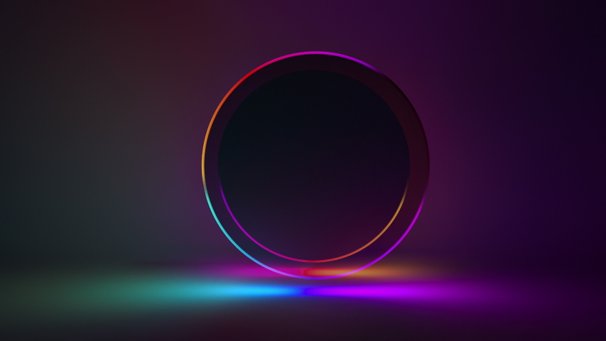 3d rendering seamles background glowing neon light product stand on blank space blue purple colors seamless looped 3D animation circle ring animation, ultraviolet spectrum Abstract 4k web background | Shutterstock HD Video #1039478930