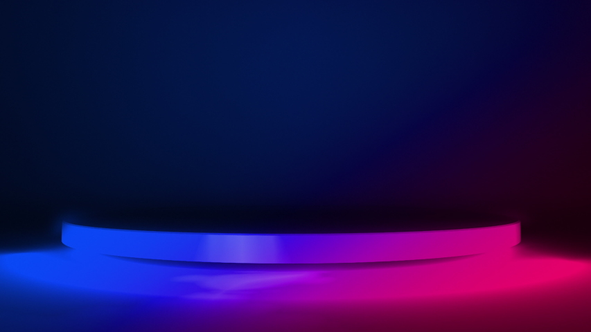 Circle Stage purple neon light. abstract futuristic background. Abstract colorful glowing neon light disk blank space, Podium for product display 3d rendering animation abstract background Royalty-Free Stock Footage #1039479074