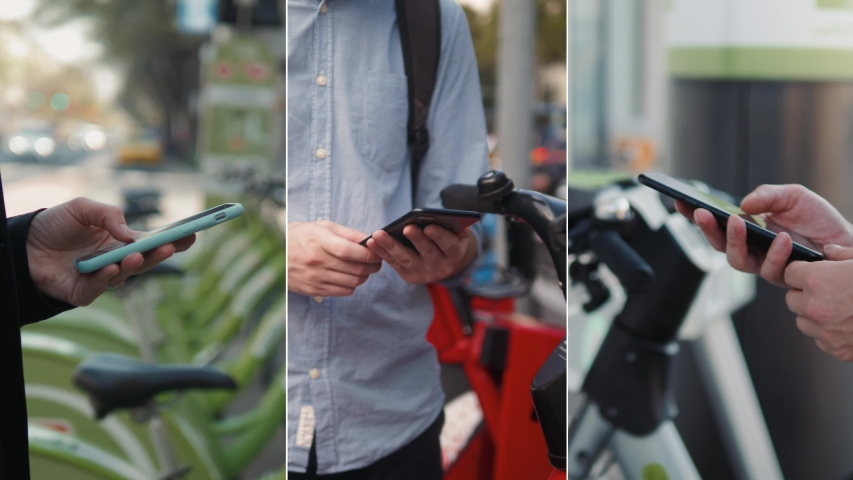 Collage rent rental man and Woman take Electric Kick scooter or bike bicycle in sharing parking lot, tourist phone application. New sharing business project started in city, eco transportation