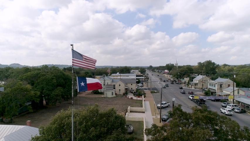 4K Slow Motion Drone Texas Flag Fredericksburg   Shutterstock HD Video #1039482065