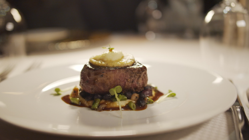 Fine Dining Cuisine - Exquisitely Plated Steak Royalty-Free Stock Footage #1039483097