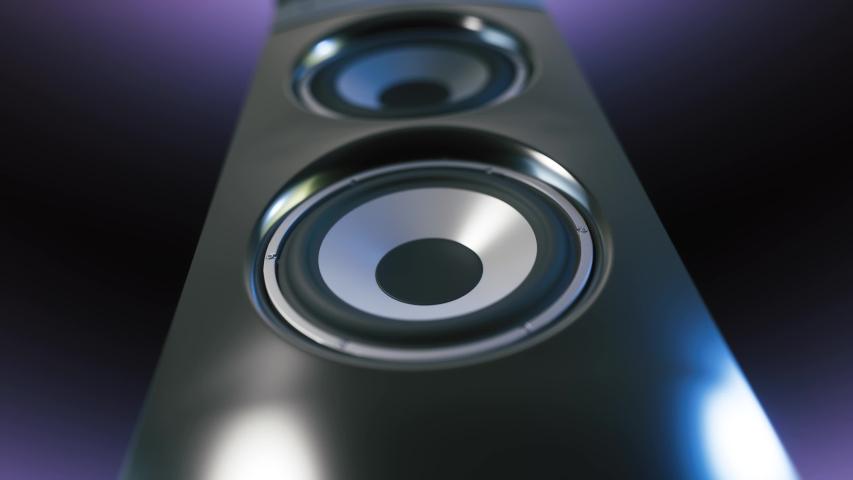 Powerful membranes in closeup. Speaker part music