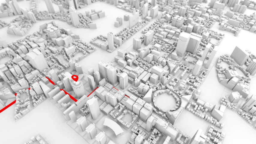 White city model with red guide line and pins in certain gps positions, looped slide  animation   Shutterstock HD Video #1039518413