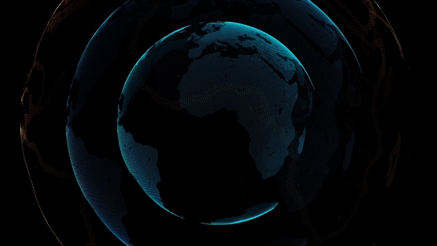 Abstract 4k digital Digital Earth Rotating Global network Seamless Looping Motion Background. | Shutterstock HD Video #1039525115