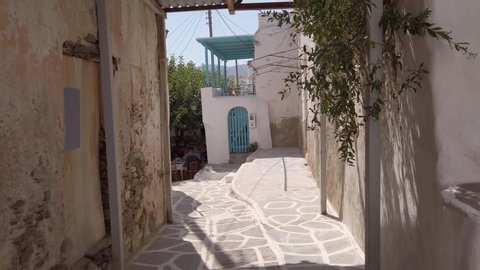 Marpissa , Paros / Greece - 08 24 2019: street view of Marpissa houses in Paros Island Greece