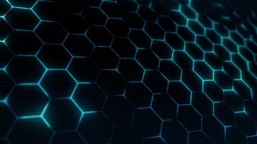 Abstract technology background with hexagonal texture. Hexagon structure. Closeup camera view. Seamless loop. | Shutterstock HD Video #1039532495