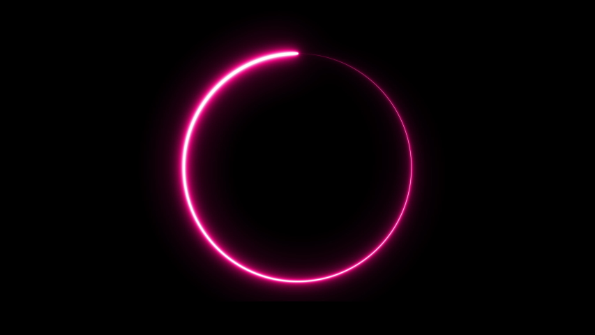 Glowing neon abstract light circle background. fluorescent border. 3D Render #1039544006