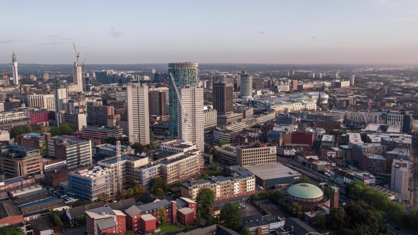 Establishing Aerial View Shot of Birmingham UK, England, United Kingdom | Shutterstock HD Video #1039548179