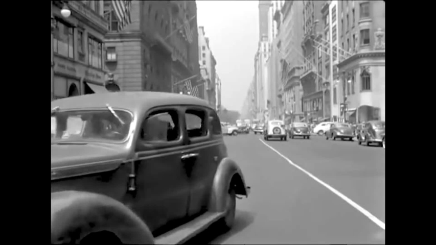 CIRCA 1940s - Driving the streets of New York City in 1945