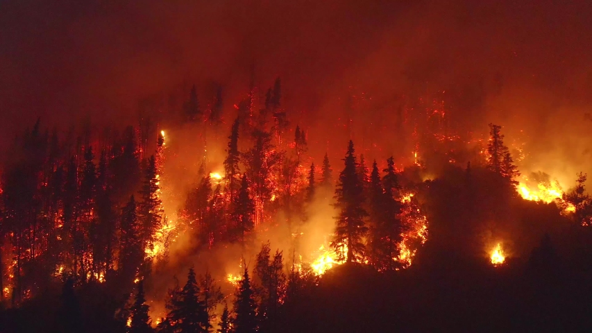Aerial, tracking, drone shot, overlooking forest in flames, Alaskan wildfires destroying and causing air pollution, on a dark, summer night, in Alaska, USA Royalty-Free Stock Footage #1039559957
