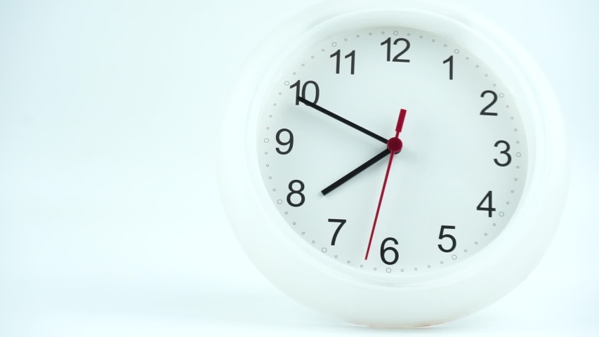White watch face beginning time 07.49 am or pm , the second hand moves slowly, Time concept. | Shutterstock HD Video #1039563176