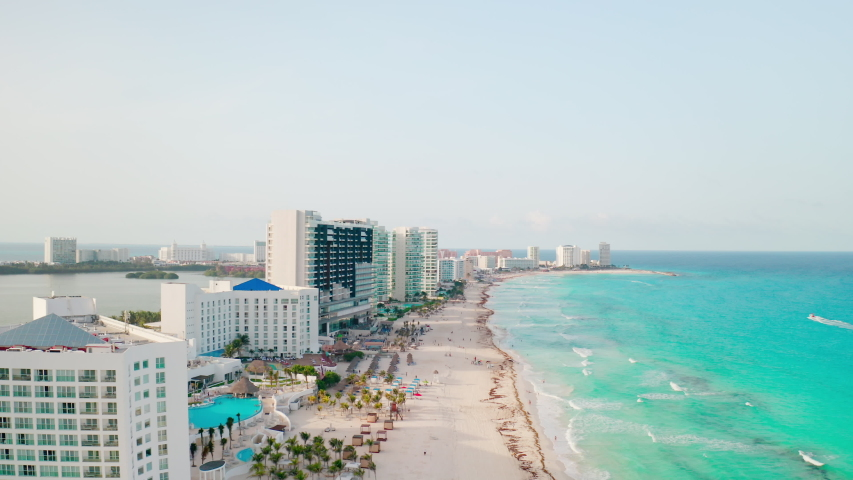 Drone shot over Cancun beach - Mexico Royalty-Free Stock Footage #1039581194