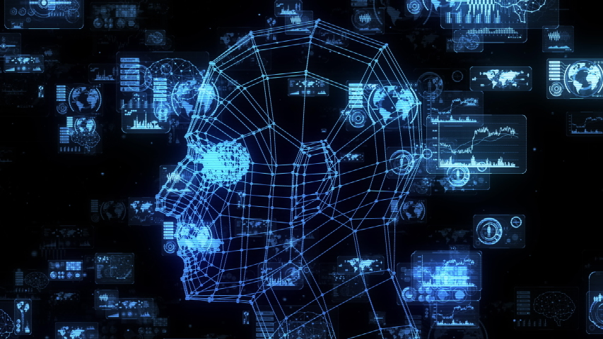 AI (Artificial Intelligence) concept. Communication network. | Shutterstock HD Video #1039587467