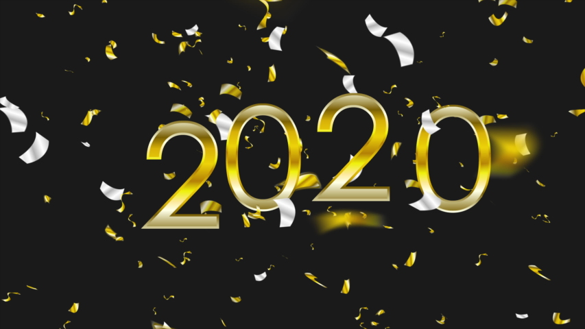 2020 New Year abstract motion design with golden and silver confetti. Video animation Ultra HD 4K 3840x2160 | Shutterstock HD Video #1039598309