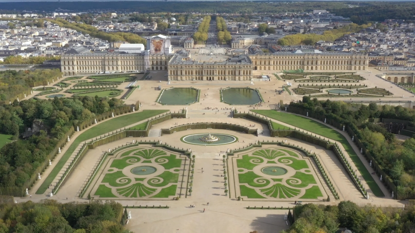 French castle, Palace of Versailles (Chateau de Versailles), drone aerial view with landscaped gardens & the surrounding area | Shutterstock HD Video #1039610234